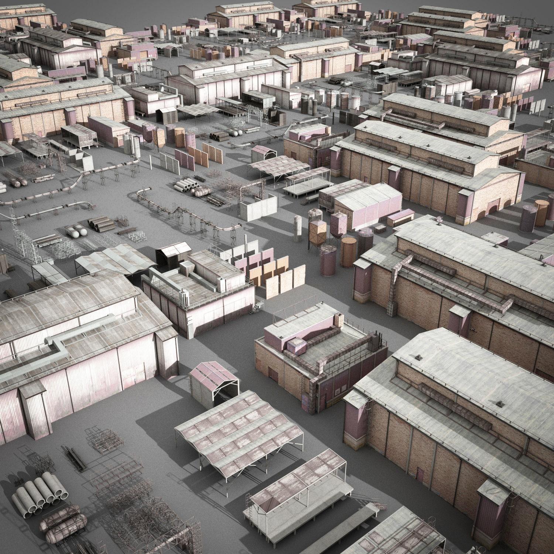 lowpoly buildings industry