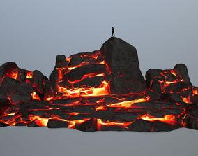 3D asset game-ready lava rocks