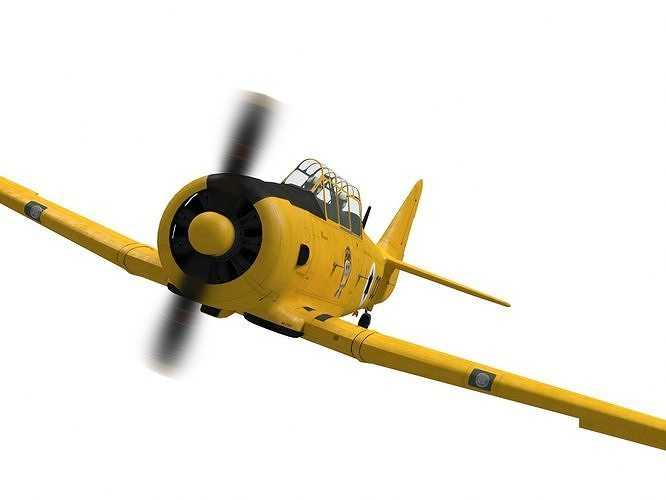 north american t-6 texan 3d model max obj mtl fbx 1