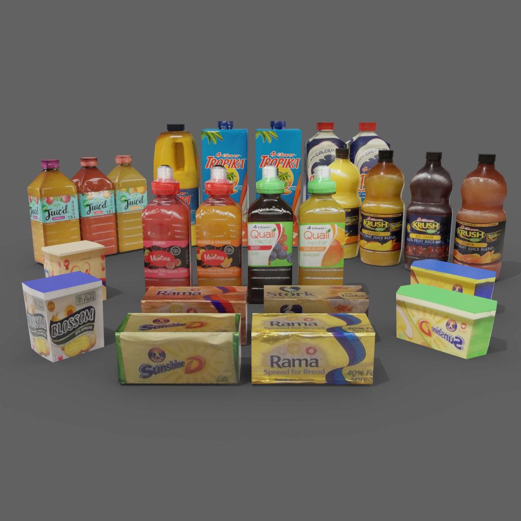 juice bottles butter tubs cold store refrigerated stock