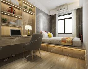 3D window luxury modern bedroom suite in hotel