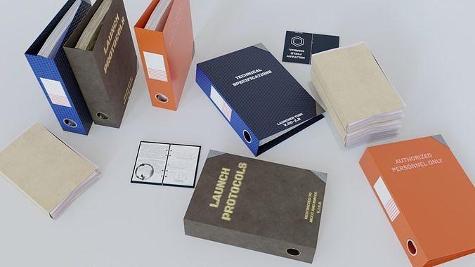 military binders and files 3d model obj mtl 3ds fbx blend 1