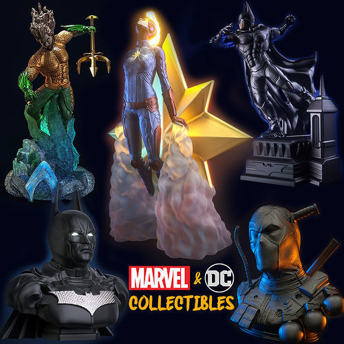 dc-marvel collectible figures 3d model obj mtl 3ds fbx c4d stl 1