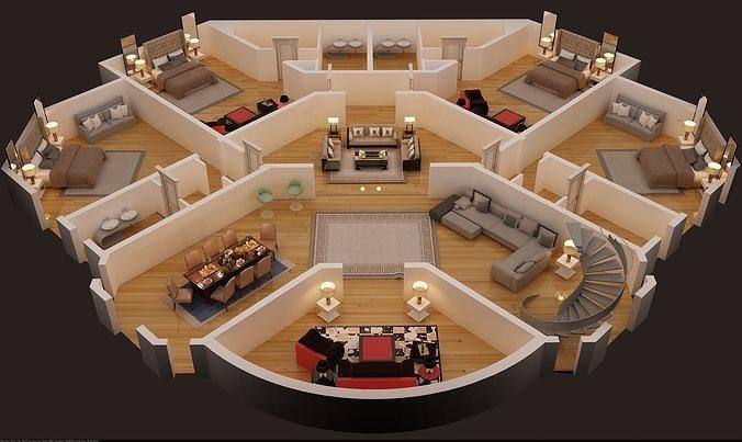 3d floor plan of first floor luxury house 3d model max 1