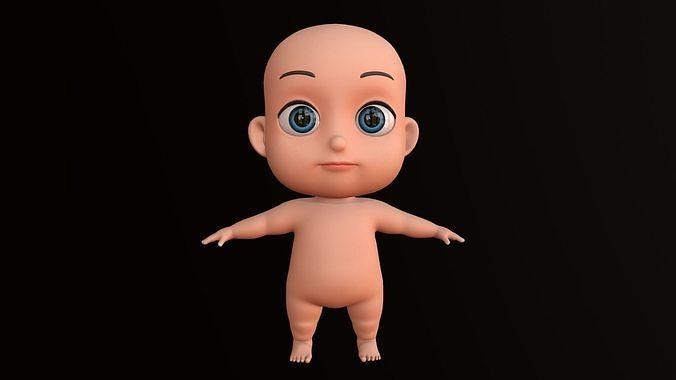 asset - cartoons - base - baby - boy - rig 3d model low-poly rigged obj mtl fbx ma mb tga mel tbscene tbmat 1