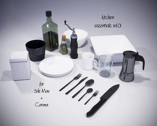 kitchen essentials vol01 for corona and 3dsmax 3d model max 1