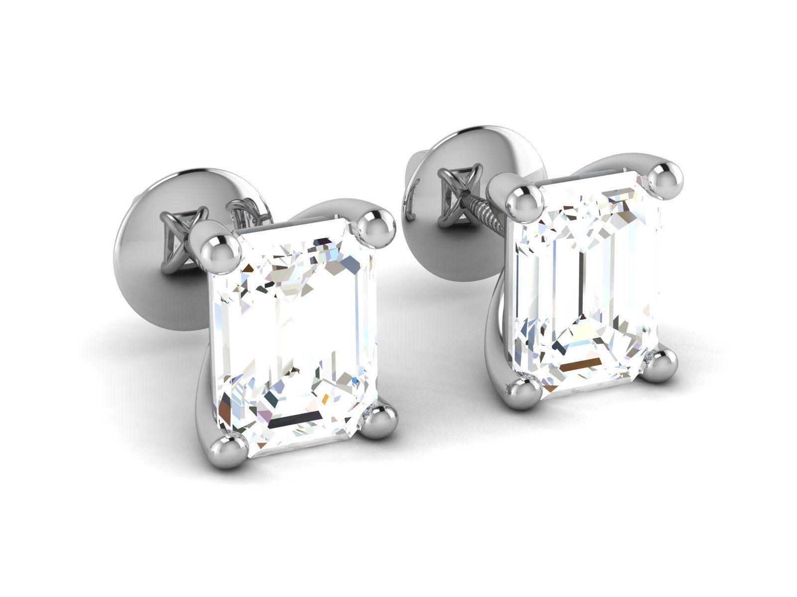Solitaire earrings 3dm stl render detail 3D print model