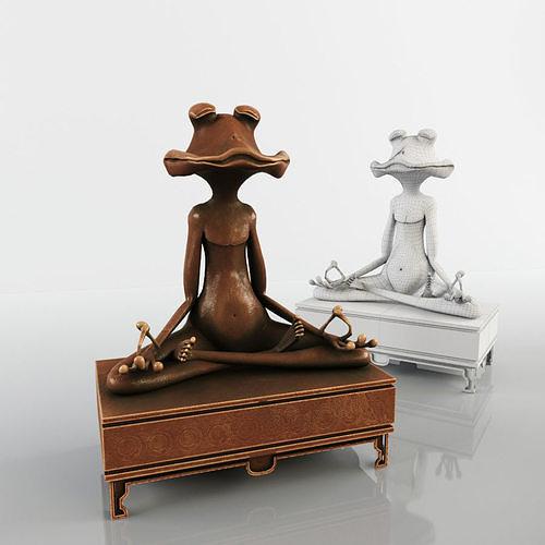 meditating frog statue 3d model max obj mtl 3ds fbx stl cga cgf chr skin 1
