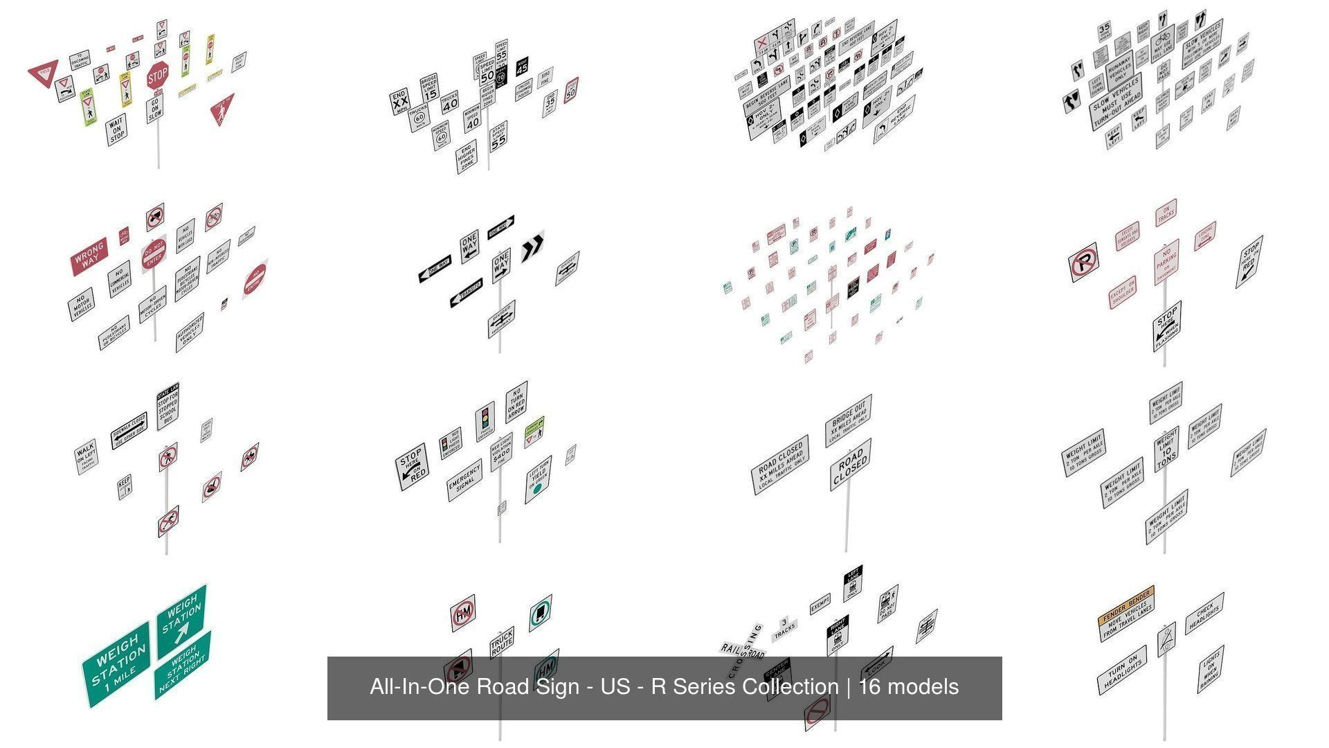 All-In-One Road Sign - US - R Series BIM Collection