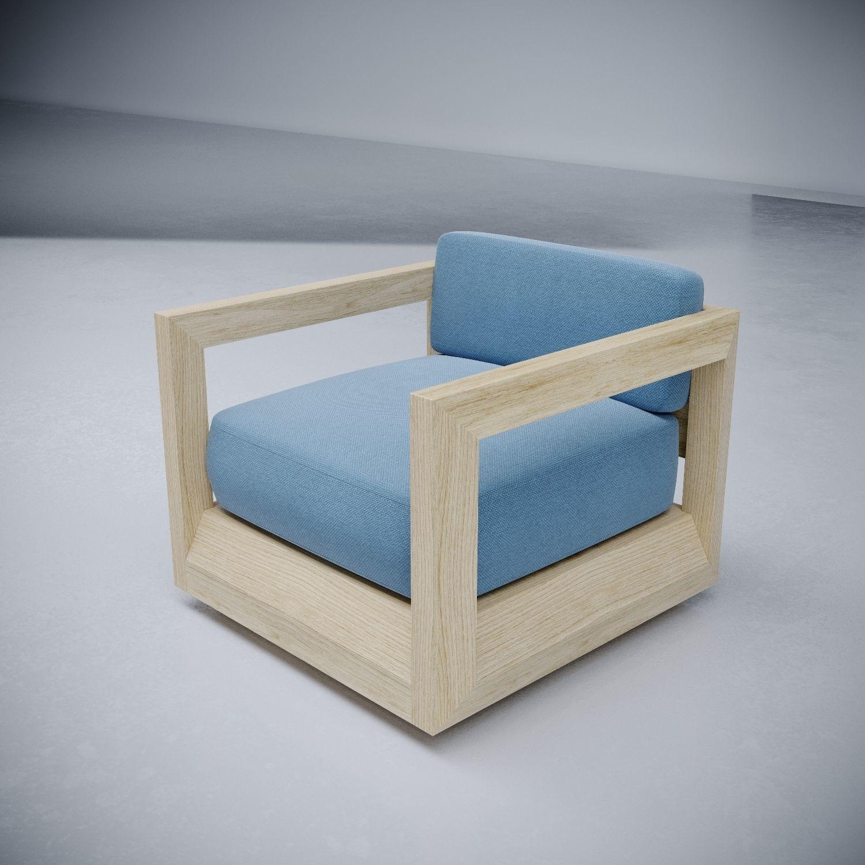 Paloma teak swivel lounge chair