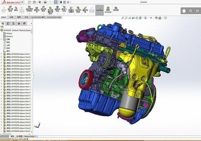 engine sw2014 3d model sldprt sldasm slddrw 1