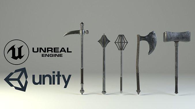 medieval slavic weapons game asset  3d model obj mtl 3ds fbx blend 1