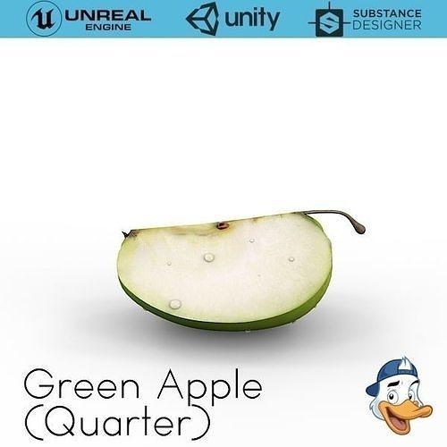 green apple quarters 3d model obj mtl fbx c4d unitypackage prefab uasset 1