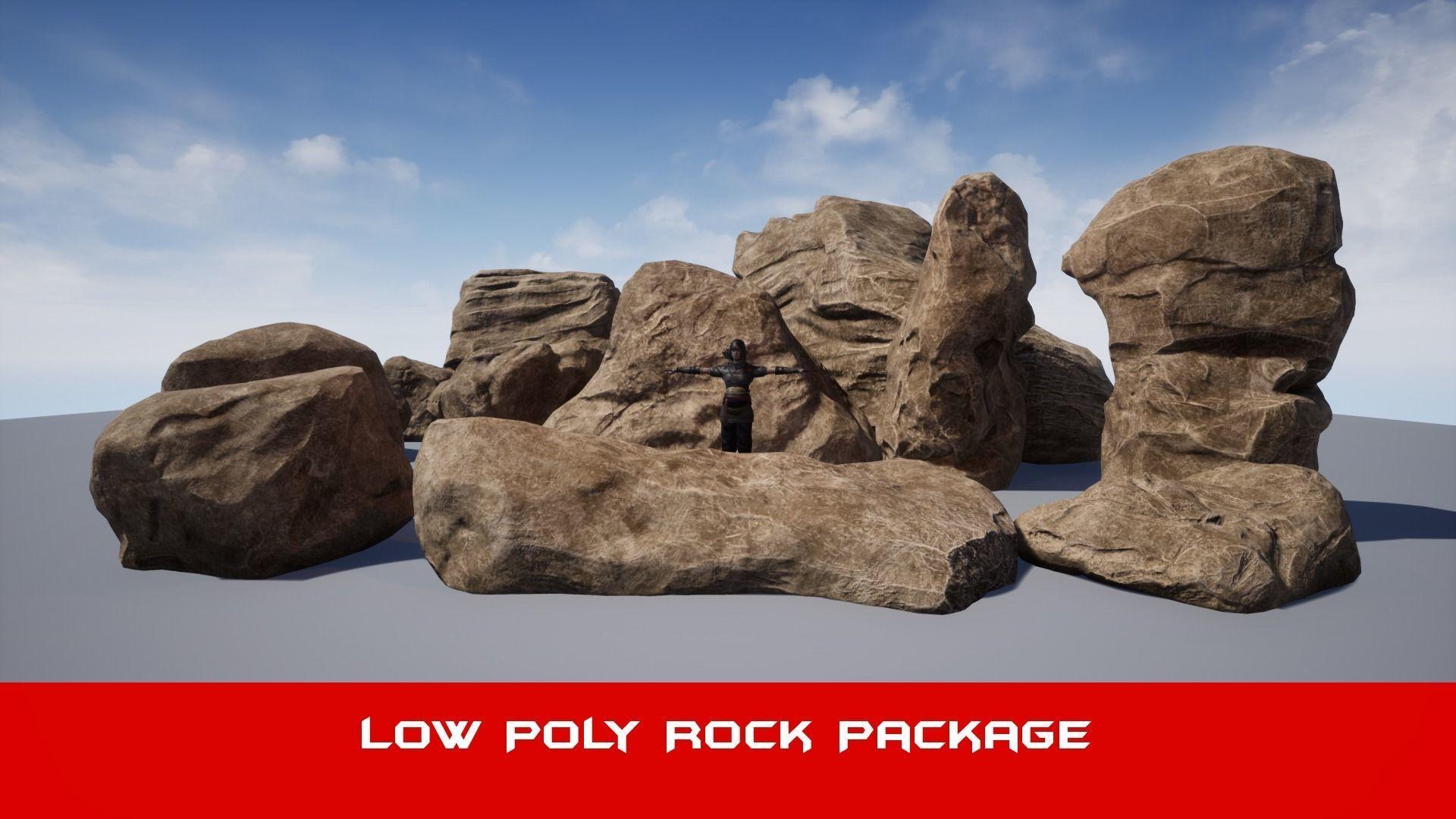 Realistic Big  Brown Rock Pack V1 - Low Poly 3D Model