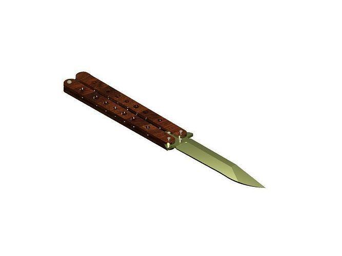 butterfly knife 3d model dwg 1