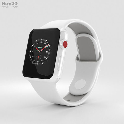 apple watch edition 3 38mm gps white ceramic white pebble sport 3d model max obj mtl 3ds fbx c4d lwo lw lws 1