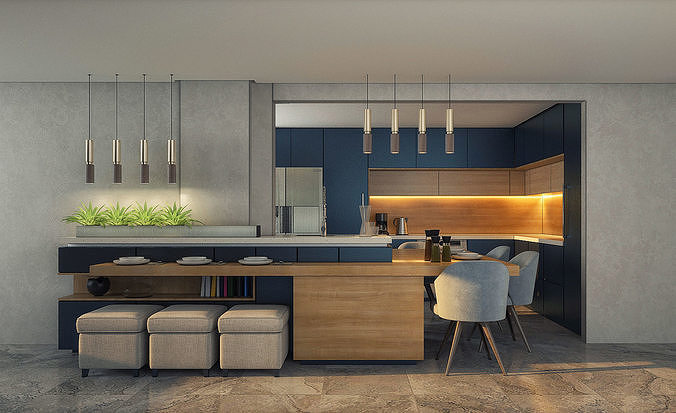 modern open kitchen with bar interior scenes 3d model 3d model max obj mtl 3ds fbx 1