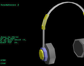 Low poly headphones 2 3D model