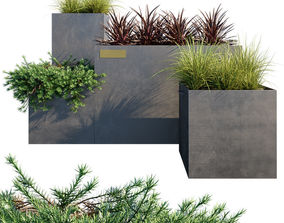 3D model Outdoor metal planter boxes