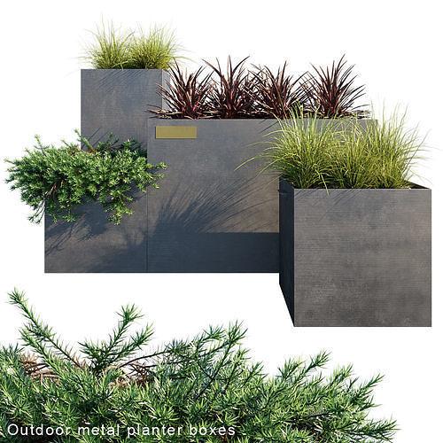 outdoor metal planter boxes 3d model max fbx 1