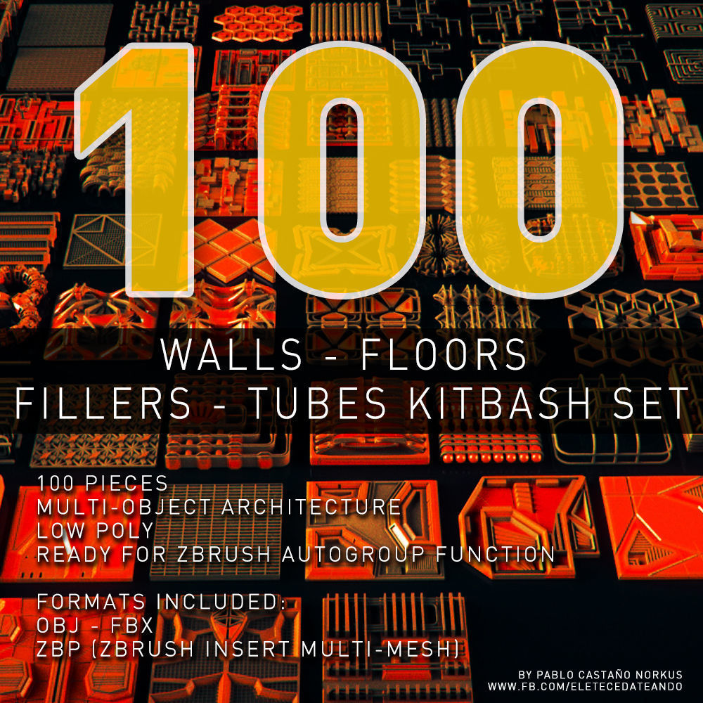 Walls - Floors - Fillers - Tubes Kitbash Set - 100 Pieces | 3D model