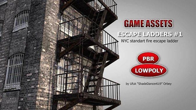 nyc fire escape ladder 3d model low-poly max obj mtl 3ds fbx c4d dae 1