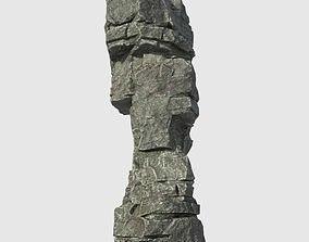 3D asset Low poly Beach Cliff Rock 05