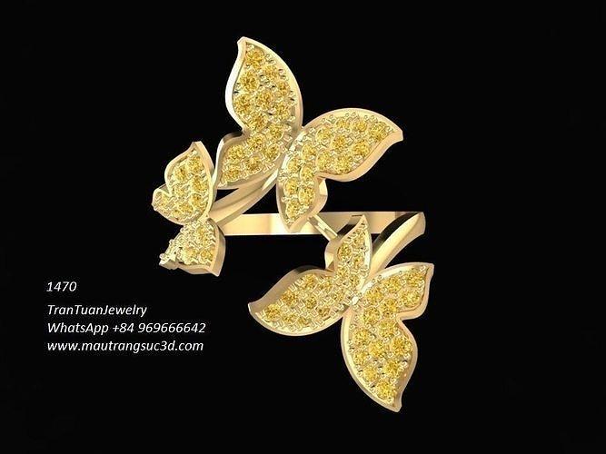 1470 diamond butterflys ring 3d model stl 3dm 1