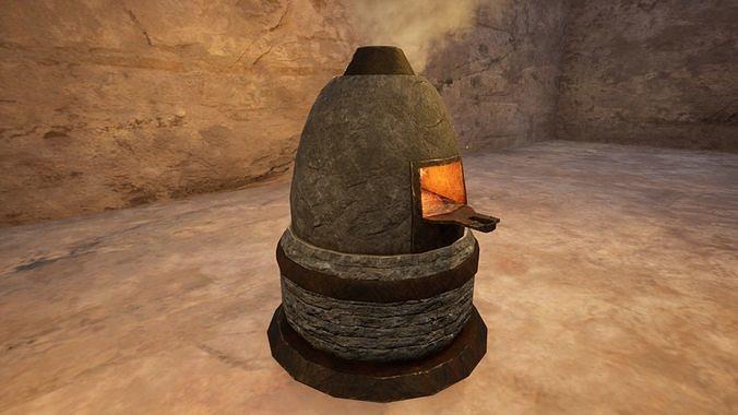 Medieval Furnace Low Poly 3D Model