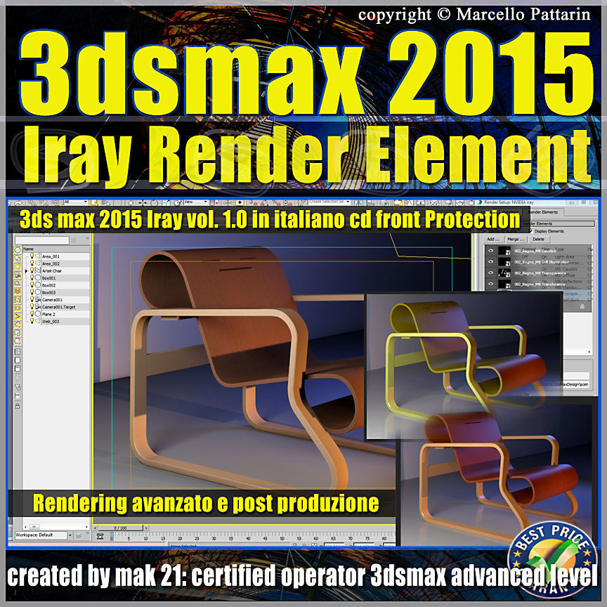 3ds max 2015 Iray Render Element Volume 1 cd front italiano