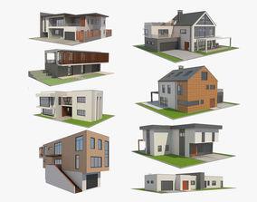 3D model 8 Modern Houses Set 1