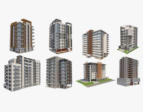 3D 8 Apartment Buildings Set 1