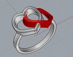3D printable model jewelry Double heart ring
