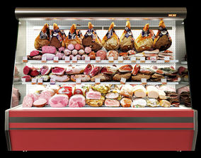 Shelves with meat 3D