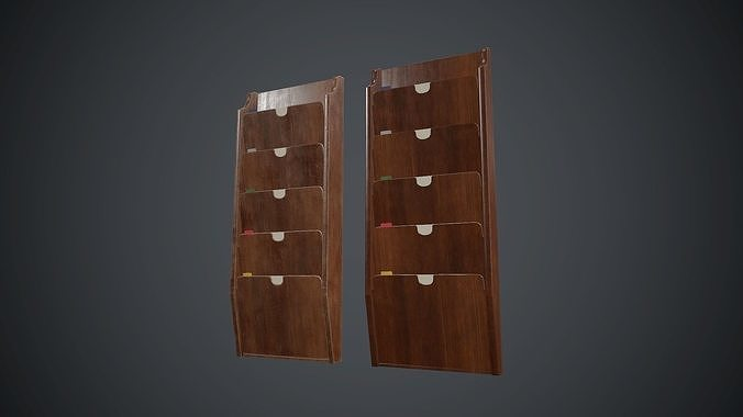 wooden wall file holder pbr game ready 3d model low-poly max obj mtl fbx 1