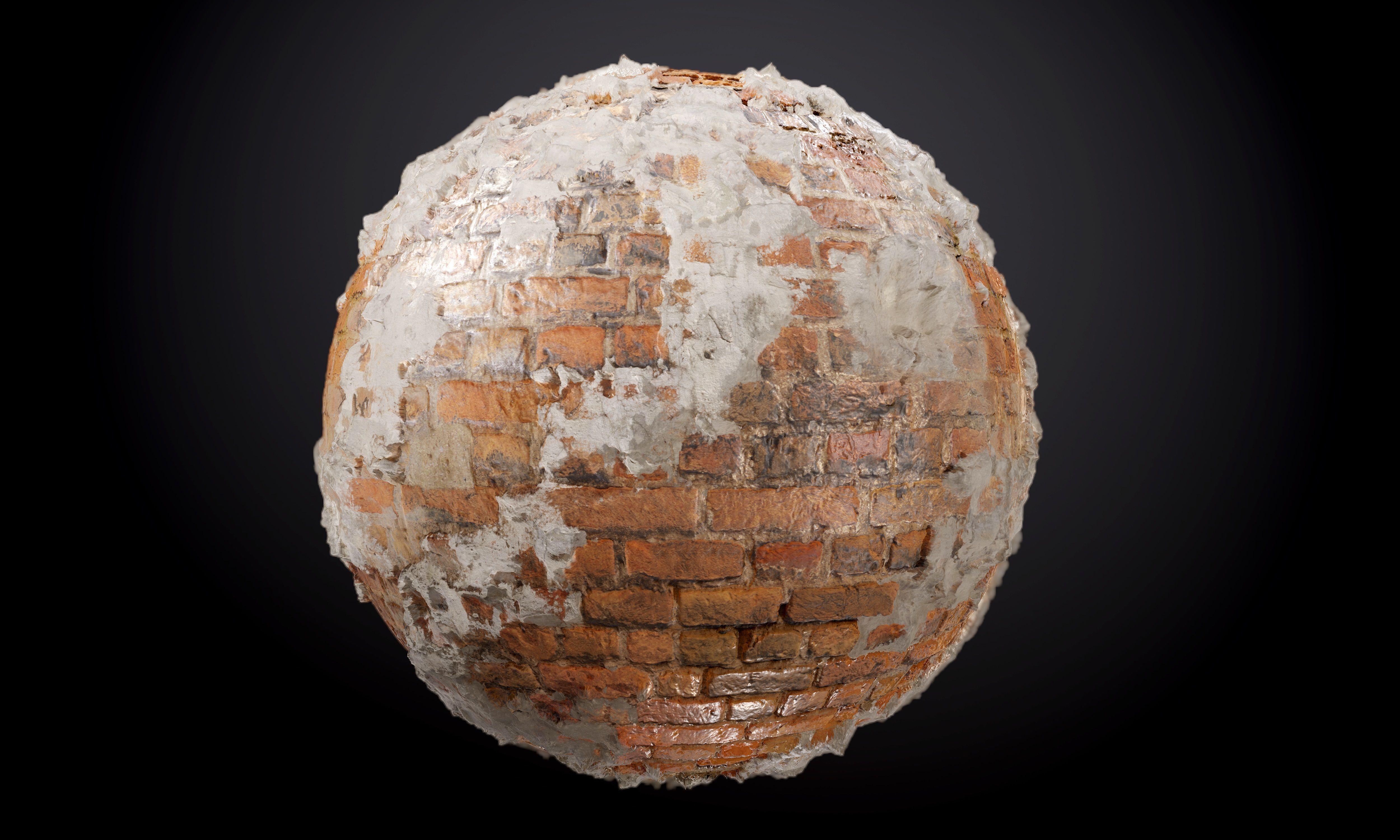 Brick Wall Sloppy Concrete Seamless PBR Texture