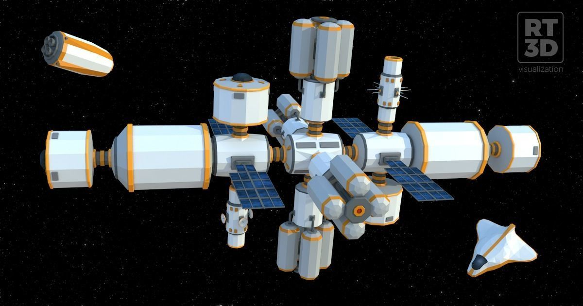 RT3D Lowpoly Space Station