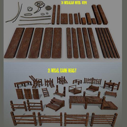 wood and rope set 3d model low-poly obj mtl fbx blend 1