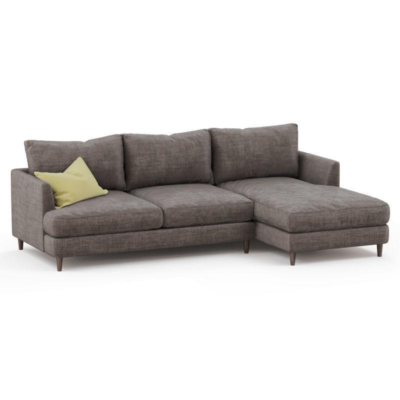 Corner sofa fabric with yellow pillow