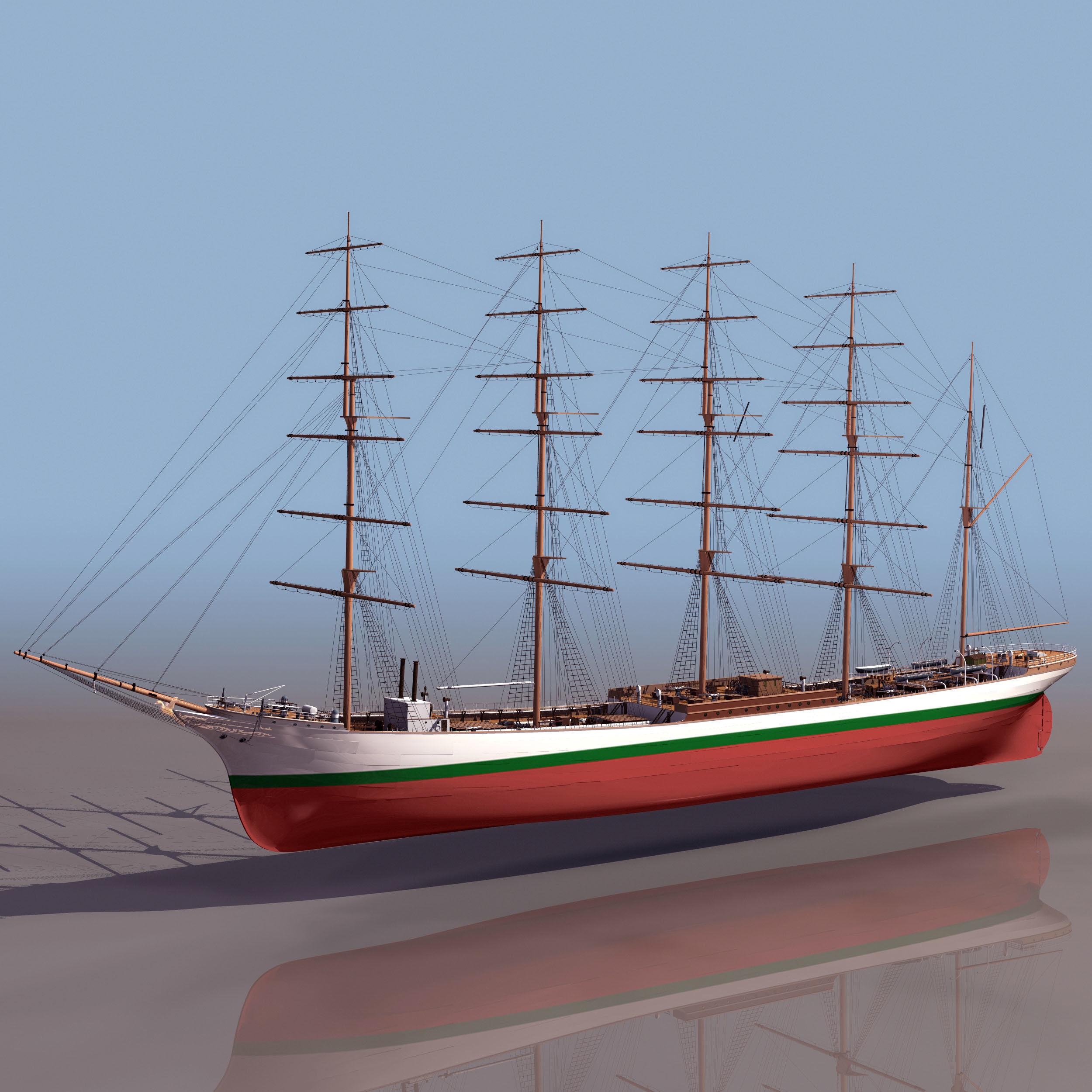 Big Historical Old Wooden Sailing Boat 3d Model