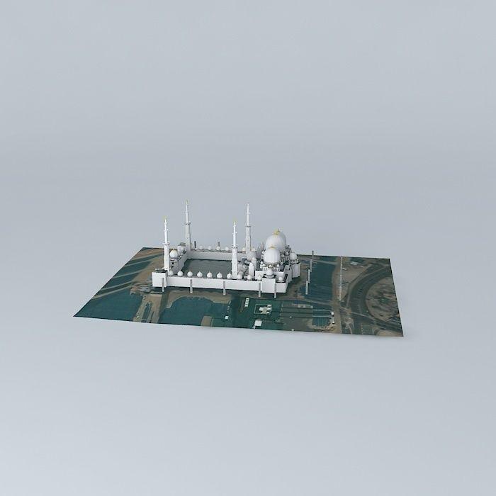 Exterior: Sheikh Zayed Mosque Free 3D Model MAX OBJ 3DS FBX STL DAE