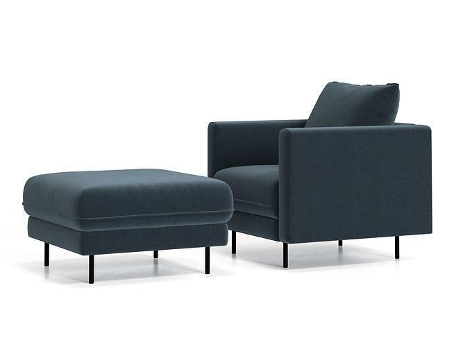 enki armchair and ottoman 3d model max obj mtl fbx c4d skp mxs 1