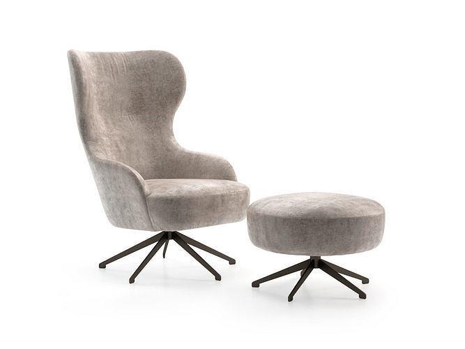melania armchair and pouf 3d model max obj mtl fbx skp pdf ms 1