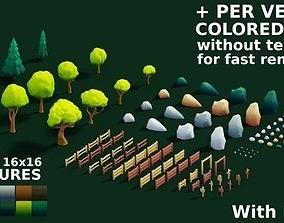 Cartoon landscape details set with LODs 3D model