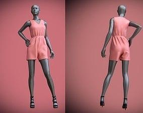 3D model jumpsuit shorts on female mannequin 2
