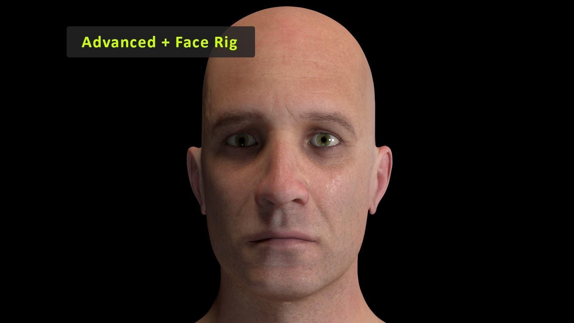 Cinematic Male 001 - Advanced Body - Face Rig - GUI
