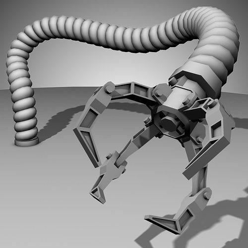 robot mechanic arm - style three 3d model rigged ma mb 1