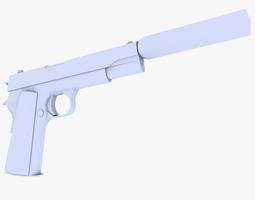 realtime 3d asset colt 45 m1911 pistol supressed