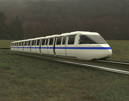 3d model rigged monorail train with track