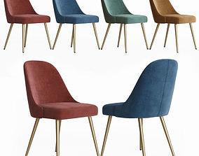 West Elm Mid-Century Upholstered Dining Chair - Velvet 3D